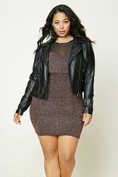Forever 21 Plus Size Metallic Dress Black Pink