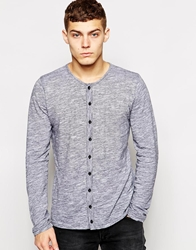 Solid Solid Jersey Button Through Long Sleeve Top Black