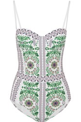 Tory Burch Garden Party Printed Underwired Swimsuit White