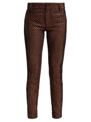 Haider Ackermann Contrast Panel Velvet And Leather Trousers Brown Multi