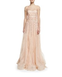 Monique Lhuillier Short Sleeve Beaded Tulle Illusion Gown Blush