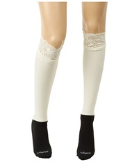 Bootights Lacie Lace Darby Knee High Ankle Sock Cream Knee High Hose Beige