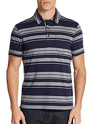 Saks Fifth Avenue Interlock Striped Polo Shirt Navy Light Grey