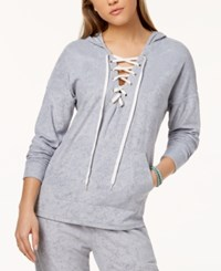 Material Girl Active Juniors' Lace Up Baby Terry Hoodie Created For Macy's Neo Silver