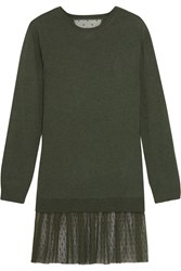 Red Valentino Redvalentino Cashmere And Point D'esprit Mini Sweater Dress Dark Green
