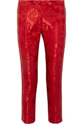 Ann Demeulemeester Cropped Cord Trimmed Satin Jacquard Straight Leg Pants Red