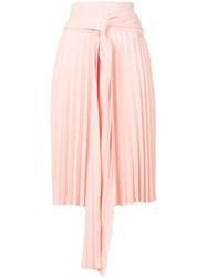Ioana Ciolacu Pleated Skirt With Tie Women Polyester S Pink Purple