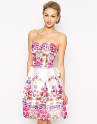 Chi Chi London Bandeau Full Midi Prom Dress In Floral Print Multi
