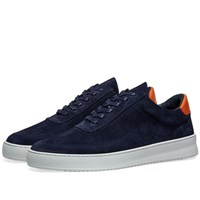 Filling Pieces Low Mondo Ripple Suede Perforated Sneaker Blue