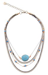 Nakamol Design Short Multilayer Howlite And Agate Necklace Turquoise