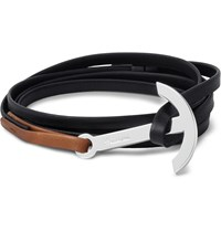 Miansai Modern Two Tone Leather And Silver Plated Anchor Wrap Bracelet Black