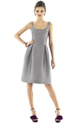 Women's Alfred Sung Scoop Neck Dupioni Fit And Flare Dress Quarry
