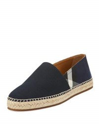 Burberry Men's Pateman Canvas Check Espadrille Indigo Blue