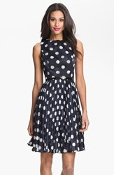 Adrianna Papell Women's Burnout Polka Dot Fit And Flare Dress
