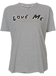Sandrine Rose Love Me Patch Striped T Shirt Cotton Recycled Cotton S Black