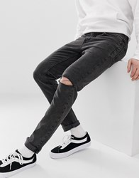 Cheap Monday Slim Tapered Sonic Jeans In Washed Black