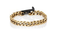 Giles And Brother Men's Flat Curb Chain Bracelet Black