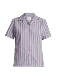 Stella Jean Logica Striped Cotton Poplin Shirt Blue Multi