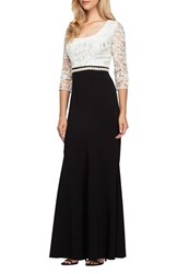 Alex Evenings Women's Long Embellished Waist Colorblock Dress