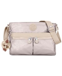 Kipling Angie Print Crossbody Sparkly Gold