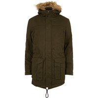 Only And Sons River Island Mens Green Faux Fur Hooded Parka