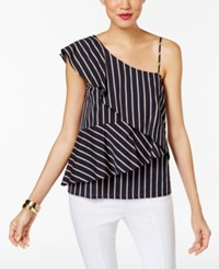 Marled Striped One Shoulder Tiered Blouse Navy Combo