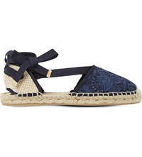 Dune Glowe Crochet Lace Espadrilles Navy Fabric
