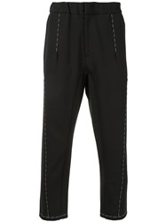 Oamc Exposed Stitch Cropped Trousers Cotton Polyamide Spandex Elastane L Black