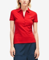 Lacoste Five Button Slim Fit Polo Red