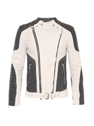 Balmain Bi Colour Cotton Biker Jacket