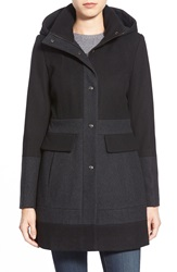 Guess Colorblock Hooded Wool Blend Coat Charcoal Black
