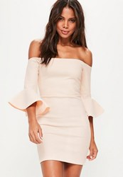 Missguided Nude Bardot Fishnet Frill Bodycon Dress
