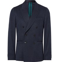Paul Smith Blue Soho Slim Fit Double Breasted Wool Blend Blazer Navy
