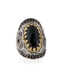 Silver And 18K Gold Spinel Oval Ring Konstantino Black
