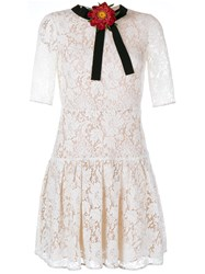 Gucci Lace Dress With Detachable Floral Brooch Off White Black Red Pink Orange