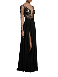 Berta Embroidered Long Sleeve Gown Black