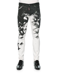 Dsquared2 Cool Guy Crow Print Skinny Jeans Black White