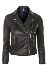 Topshop Washed Leather Biker Jacket Black