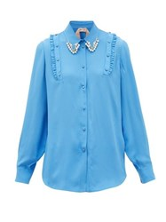 N 21 No. Crystal And Faux Pearl Embellished Crepe Shirt Blue