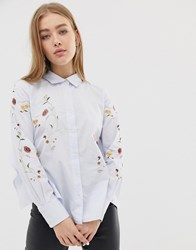 Blank Nyc In Bloom Floral Embroidered Shirt White