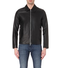 Reiss Dylon Leather Stand Collar Jacket Black