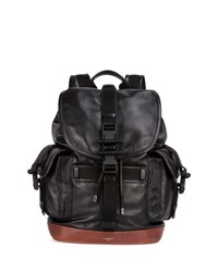Obsedia Men's Leather Flap Backpack Black Brown Givenchy