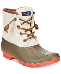 Sperry Women's Saltwater Duck Booties Women's Shoes Taupe Natural Hemp