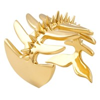 Brash Cat Fish Cuff With Spikes Gold