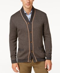 Tasso Elba Men's Big And Tall Shawl Collar Texture Cardigan Only At Macy's Charcoal Heather