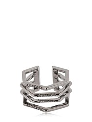 Federica Tosi Cage Ring W Crystals Black