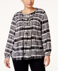 Ny Collection Plus Size Pleated Print Peasant Blouse