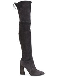 Stuart Weitzman Over The Knee Boots Leather Suede Rubber Grey