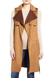 Love Token Women's Faux Suede Long Vest