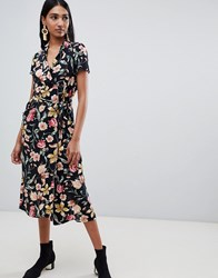Mango Button Down Midi Dress In Dark Florals Black